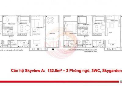 Mặt bằng căn hộ 132m2 Saigon Intela