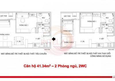 Mặt bằng căn hộ 41m2 Saigon Intela