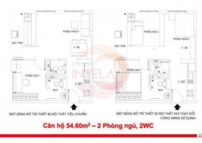 Mặt bằng căn hộ 54m2 Saigon Intela