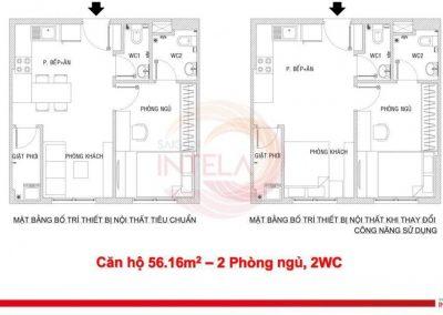Mặt bằng căn hộ 56m2 Saigon Intela
