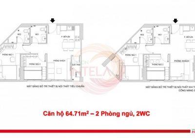 Mặt bằng căn hộ 65m2 Saigon Intela