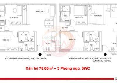 Mặt bằng căn hộ 78m2 Saigon Intela