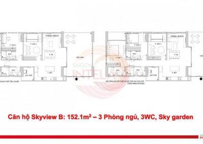Mặt bằng căn hộ 152m2 Saigon Intela
