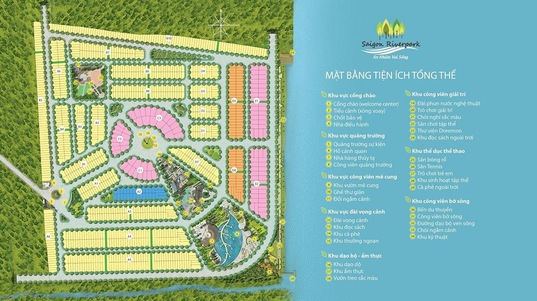 mặt bằng tiện ích tổng thể dự án Sài Gòn River Park